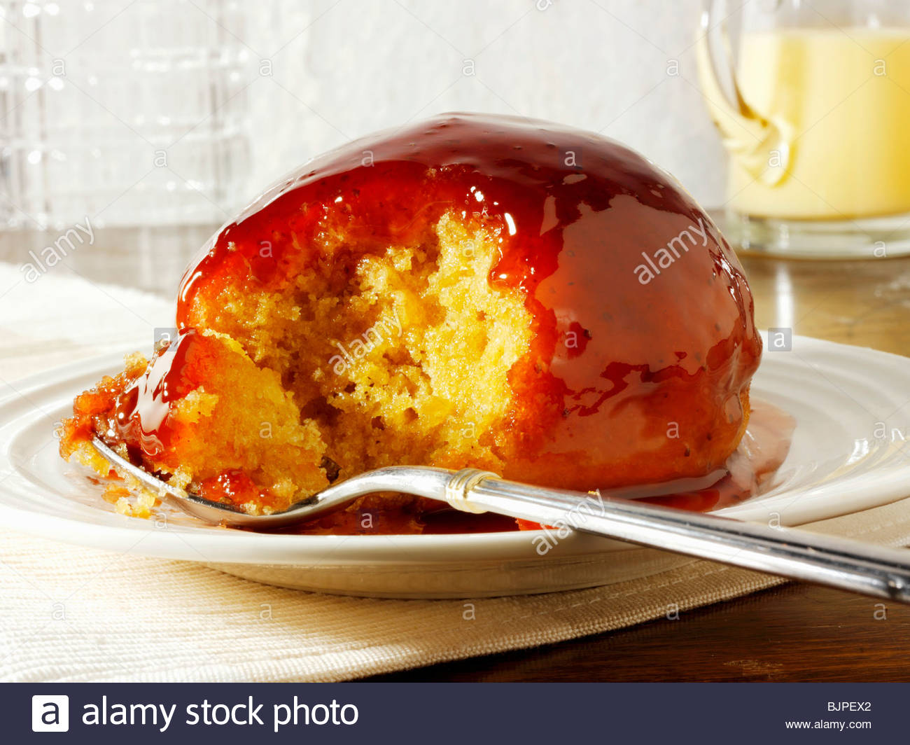 pudding with fresh strawberry sponge cake strawberry sponge pudding ...
