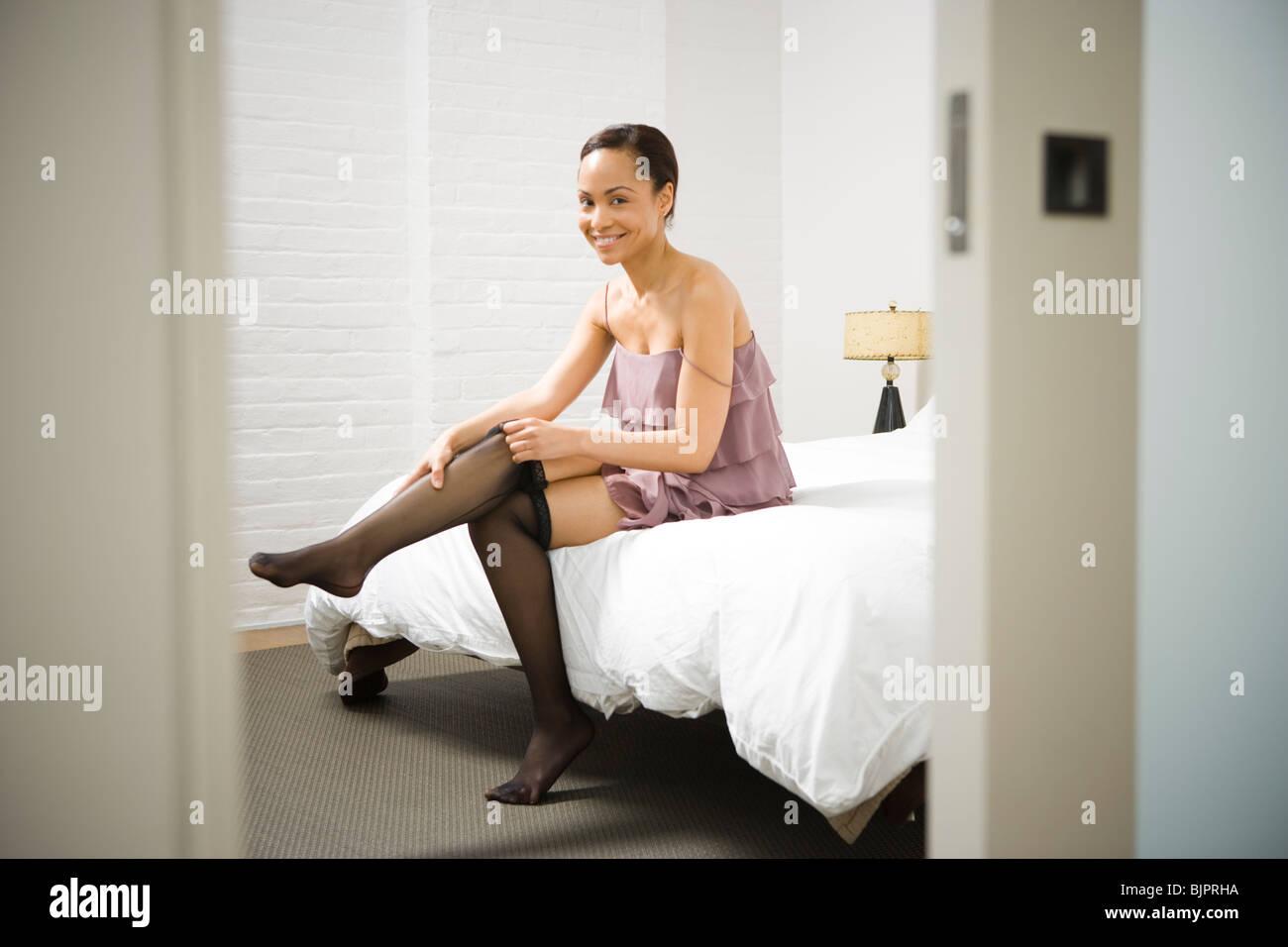 Woman Putting On Pantyhose Stock Photo Royalty Free Image
