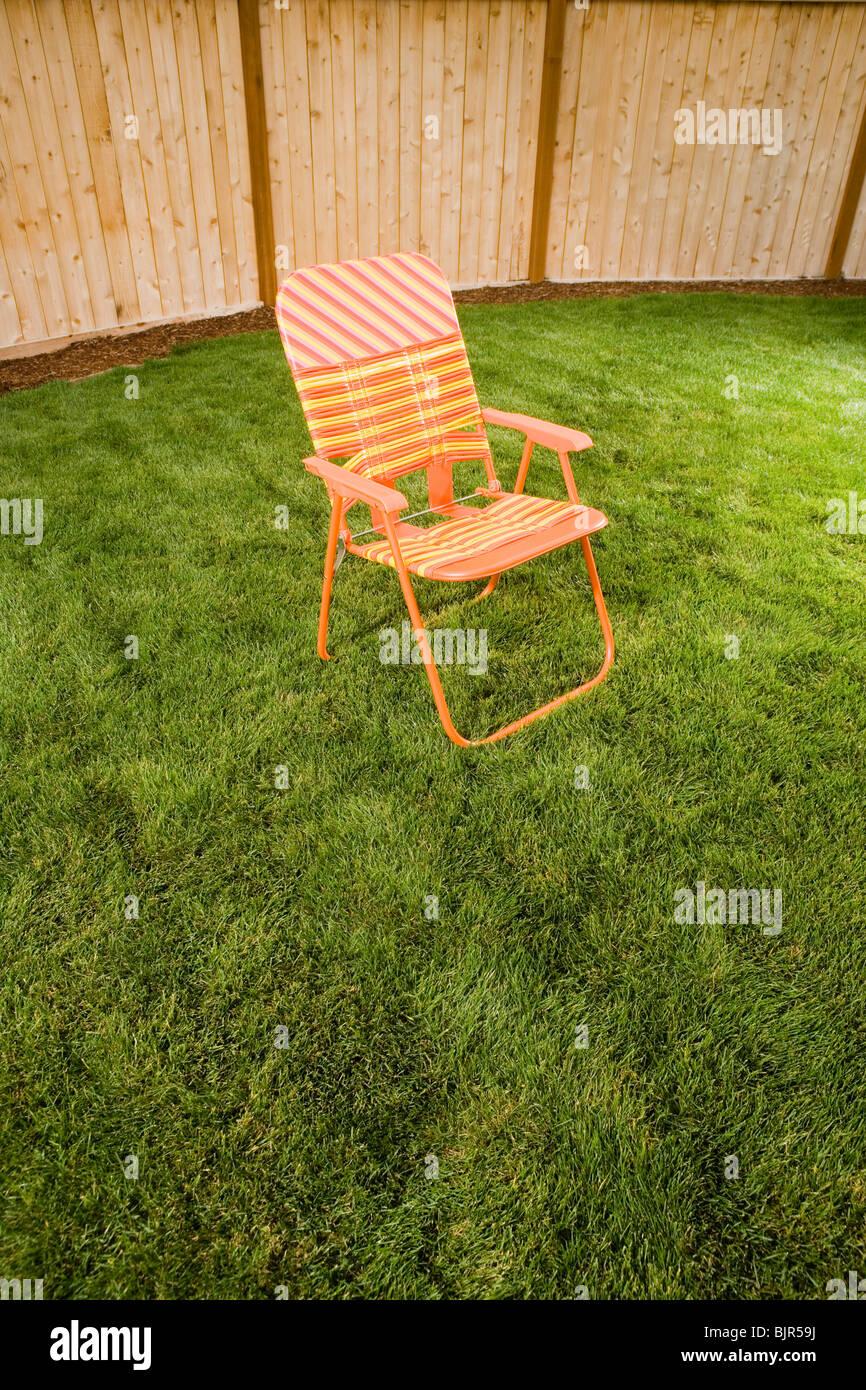 Orange Lawn Chair Outside
