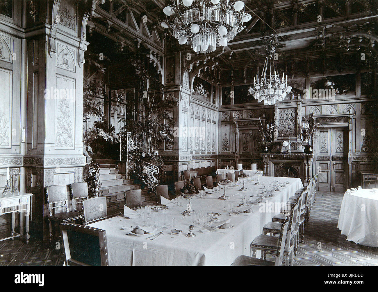 dining room of the imperial palace in bialowieza forest, russia