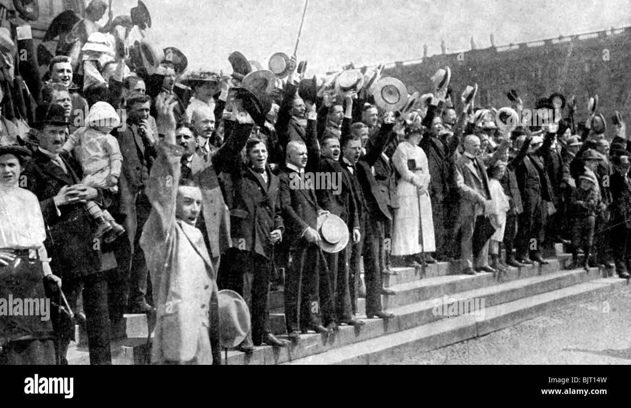 crowds cheering during the outbreak of hostilities war