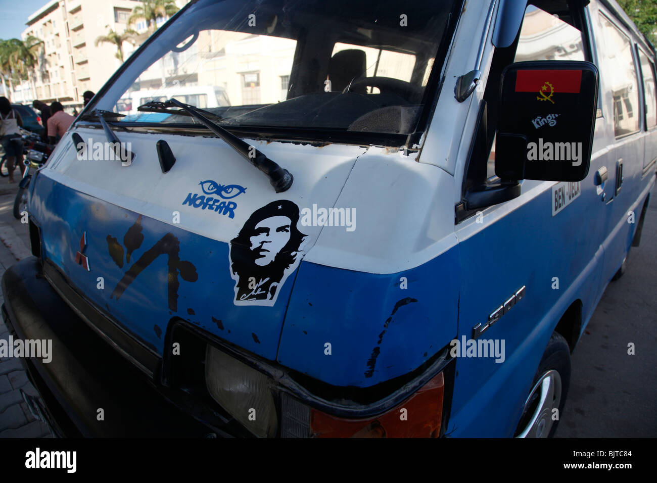 A minibus taxi with a sticker of the Cuban revolutionary Che