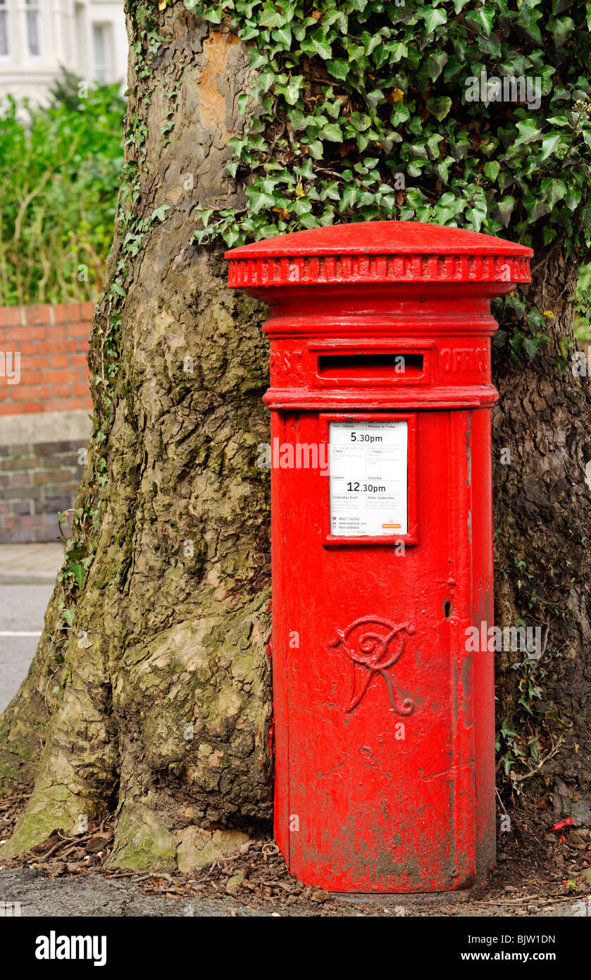 Unusual small red uk mailbox with very old tree growing for Unusual small trees
