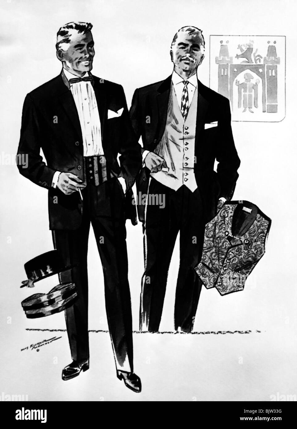 fashion 1950s mens fashion 2 men in dark suits by