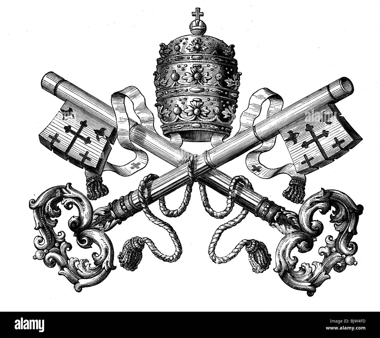 heraldry, emblems, Vatican, tiara and key as symbol of the ...