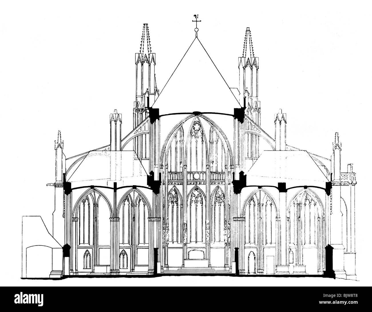 Architecture Ground Plan Cross Section Of A Gothic Cathedral Drawing Historic