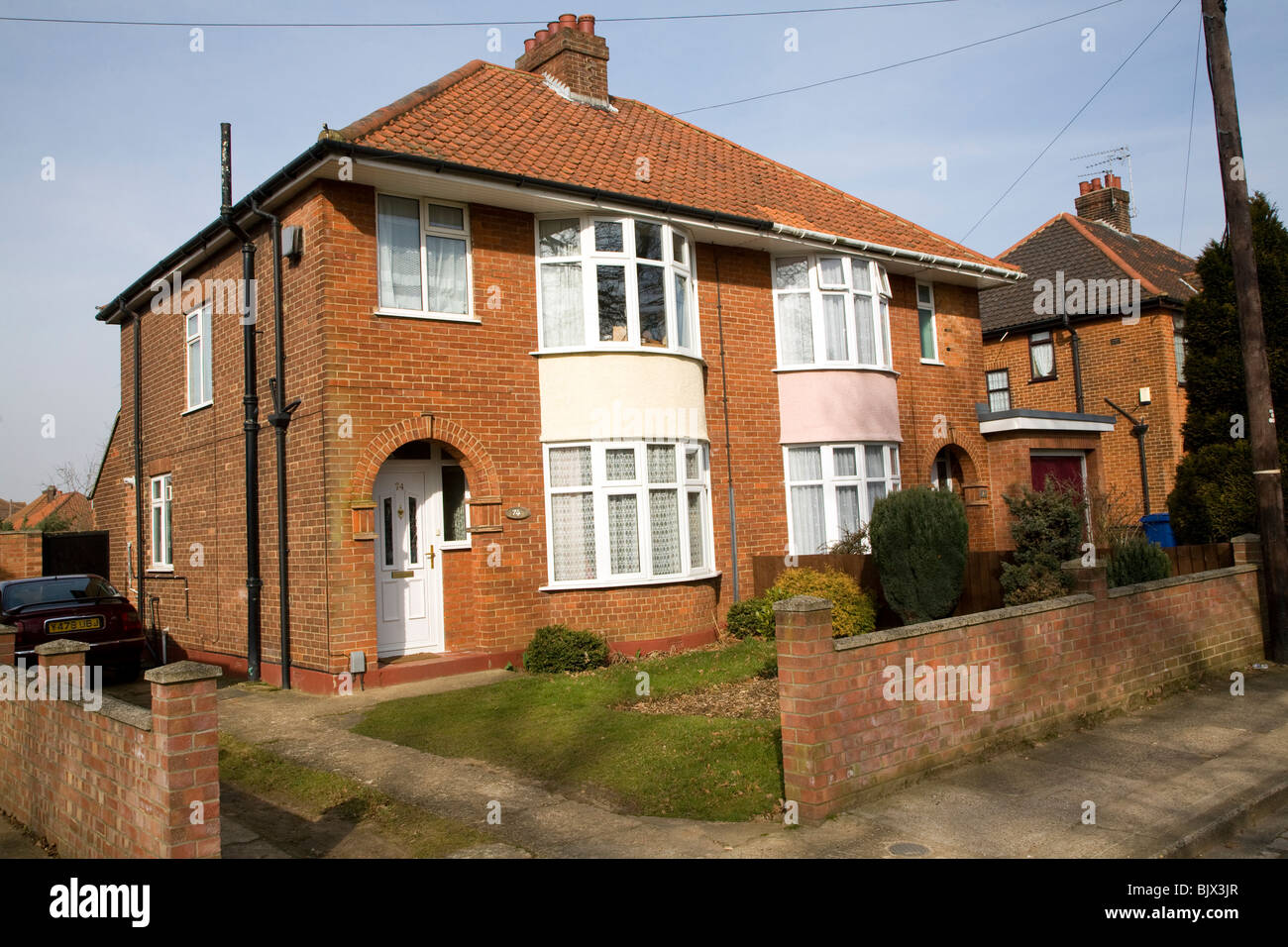 1930s semi detached suburban houses, Ipswich, Suffolk