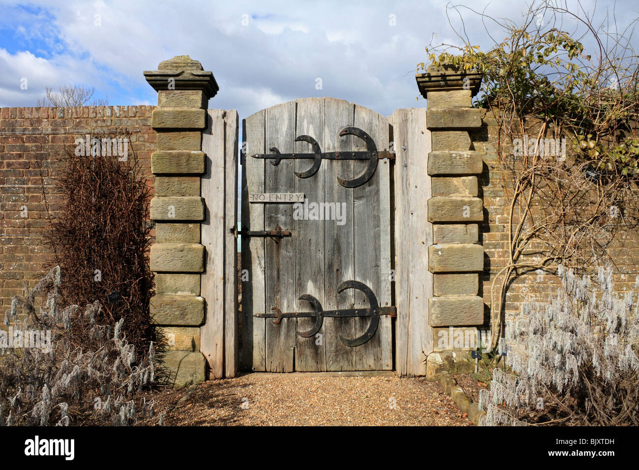 Stock Photo   Sturdy Old Wooden Garden Gate With No Entry Sign And Large  Brass Hinges, Sussex England UK