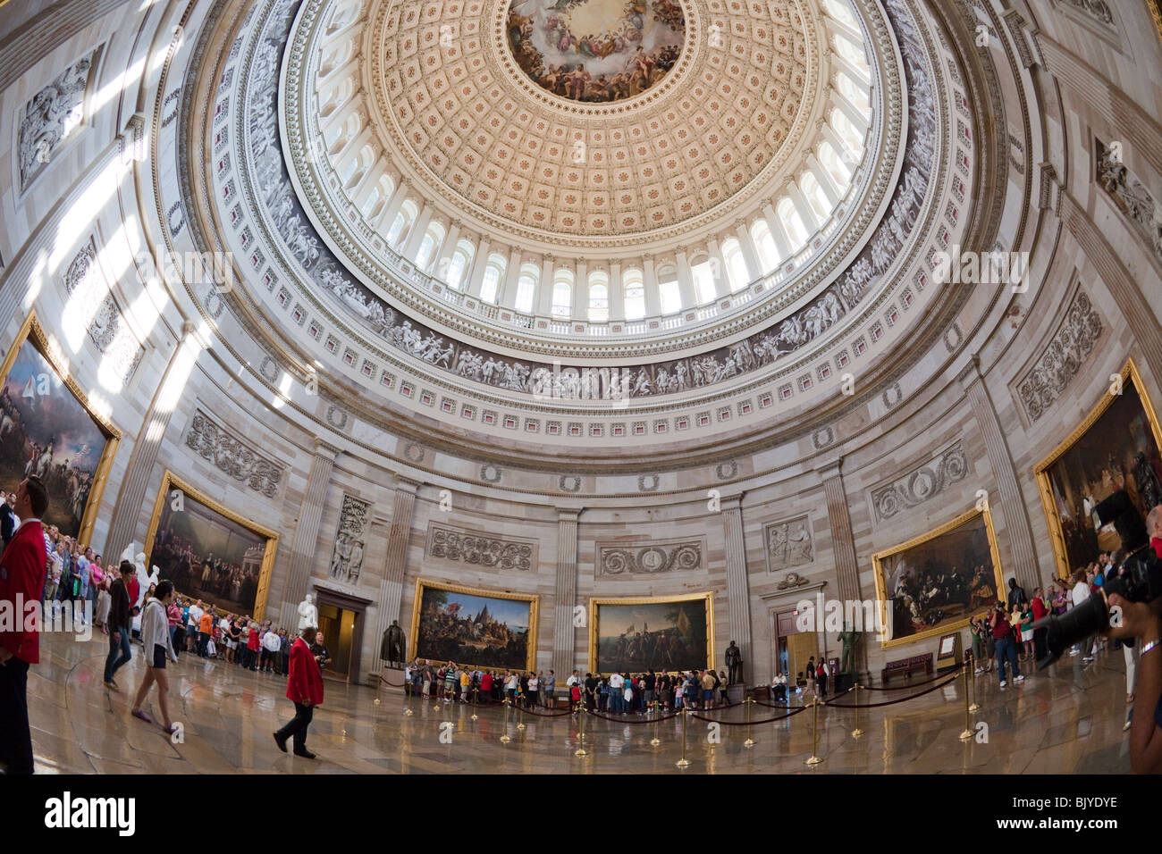 Visitors Tour The Rotunda Of The U S Capitol In
