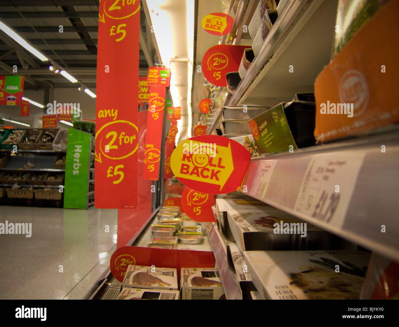 a roll back the prices sign in an asda store in the uk stock photo royalty free image. Black Bedroom Furniture Sets. Home Design Ideas