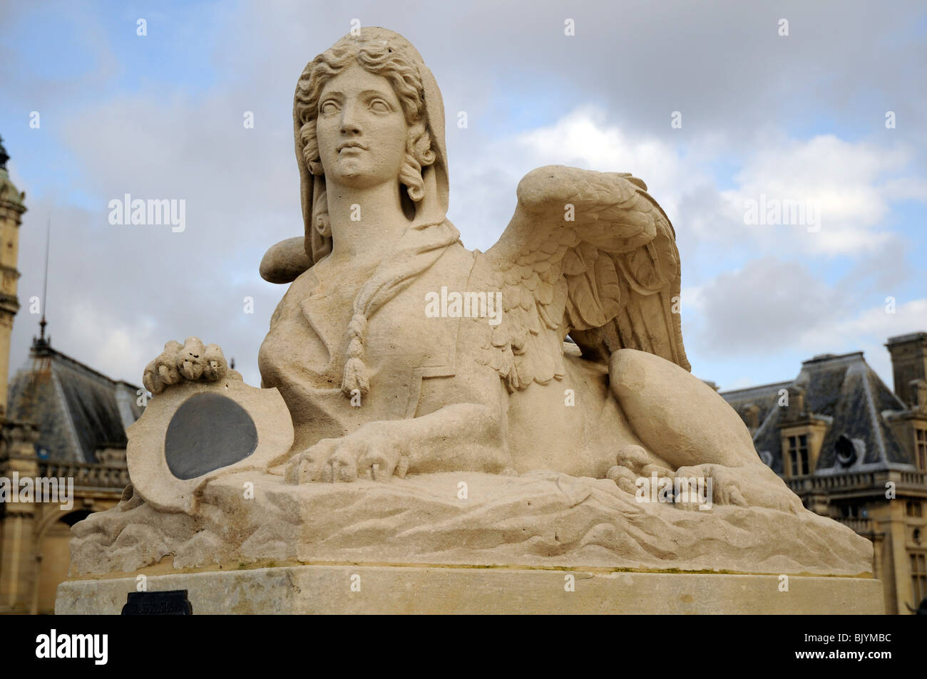 Greek Style Sphinx Statue In Garden Of Chantilly Chateau, France.