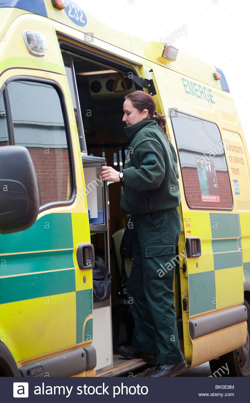 Stock Photo - Woman paramedic stepping through side door of an ambulance. Female ambulance crew member in uniform UK & Woman paramedic stepping through side door of an ambulance. Female ... Pezcame.Com