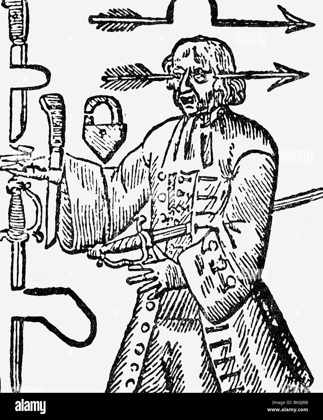 The magic coloring book trick - Circus Showmen Illusionist Magic Trick Of Penetration Copper Engraving 18th Century