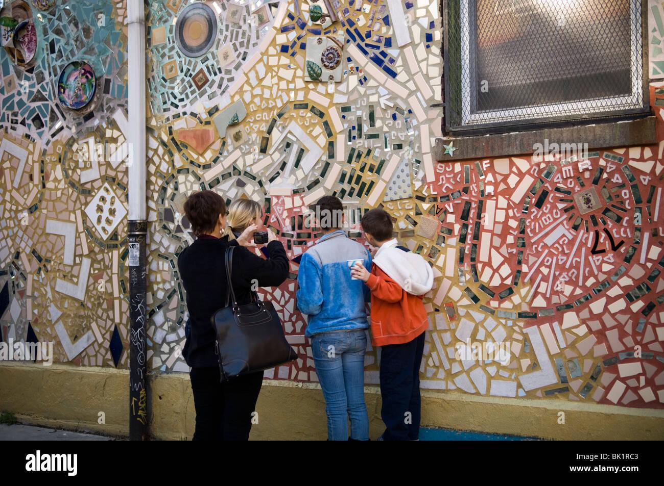 Tourists Photograph A Wall Mural Of Philadelphia 39 S Magic
