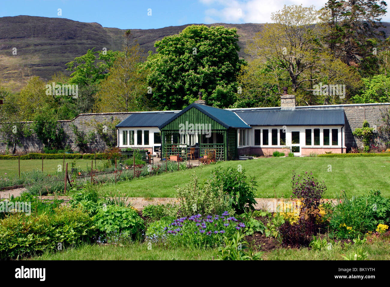 stock photo victorian walled garden the potting shed cafe and restaurant applecross scotland