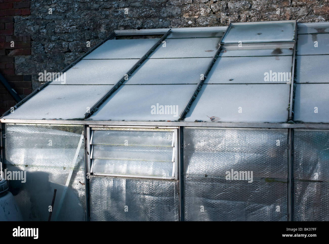 Greenhouse With Inner Walls Lined With Bubble Wrap For Insulation Against  Cold In Winter