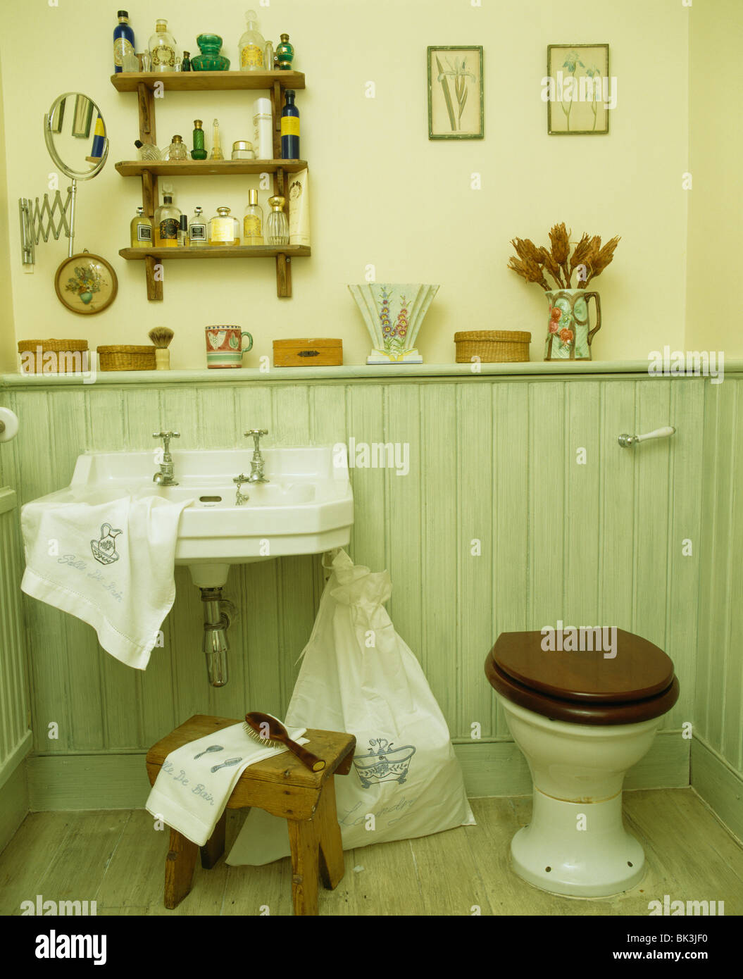 Tongue and groove for bathrooms - Toilet And Wall Mounted Basin In Pastel Green Tongue Groove Paneled Bathroom Stock