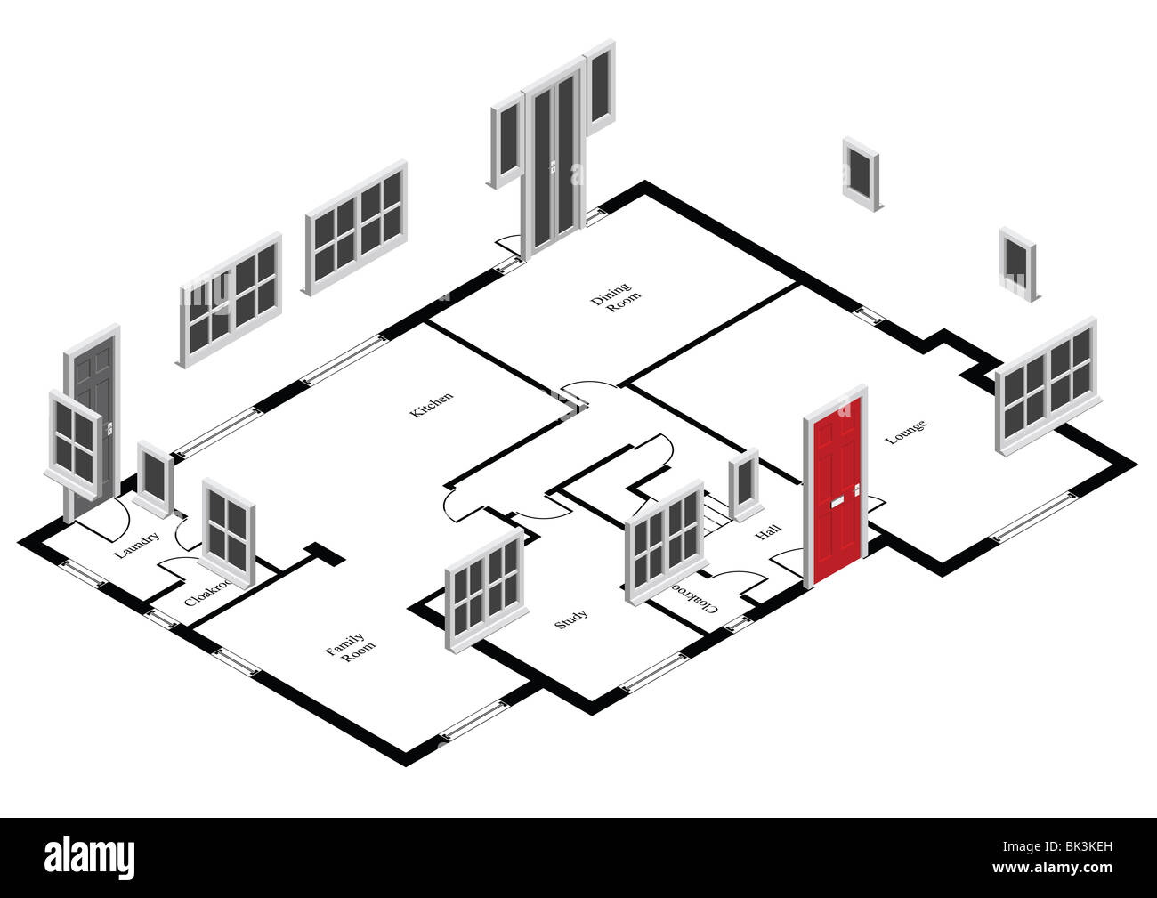 Vector of isometric house ground floor plan with doors and windows