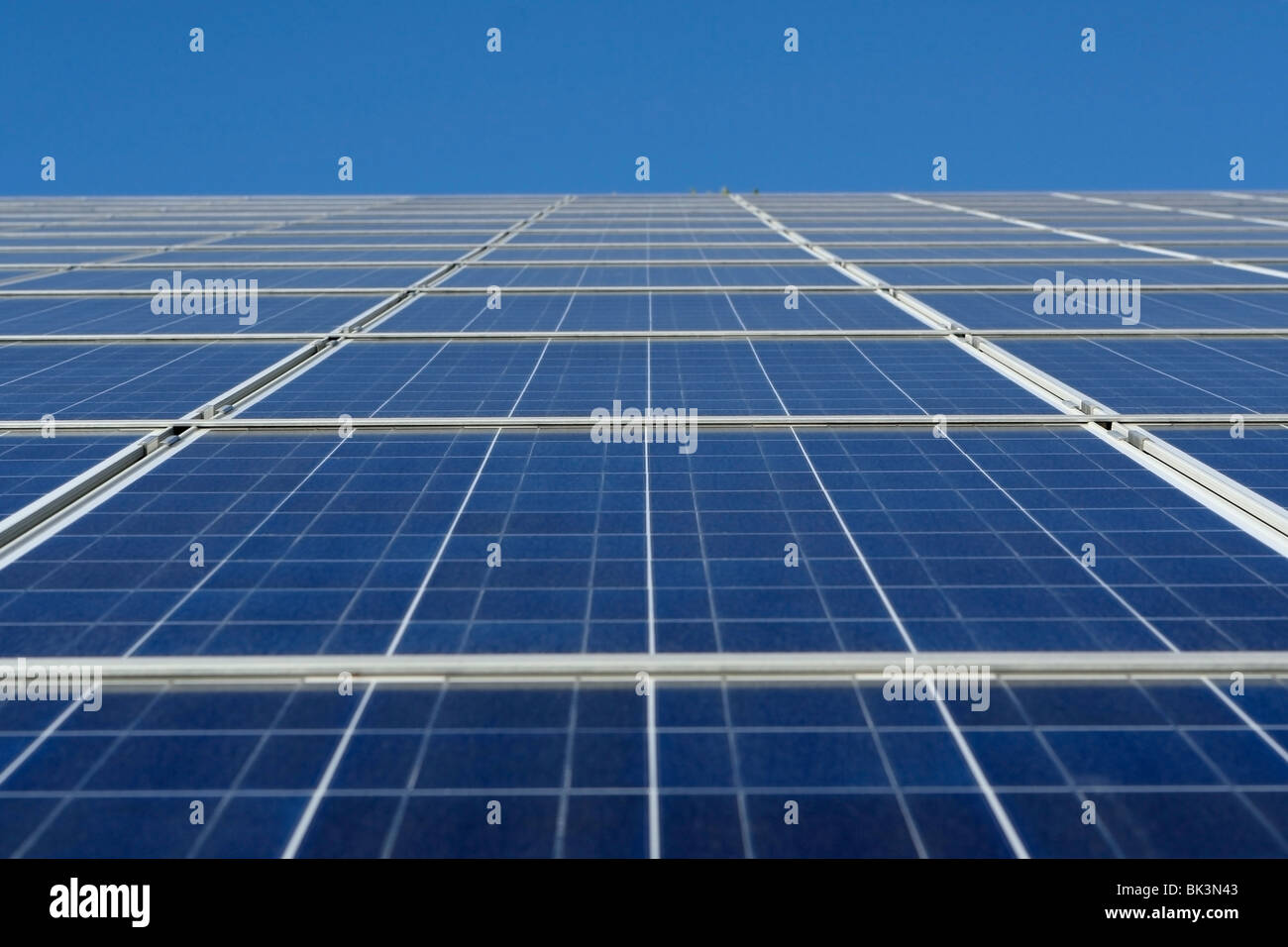 Modern solar photo voltaic panels with great blue cells with Stock ...