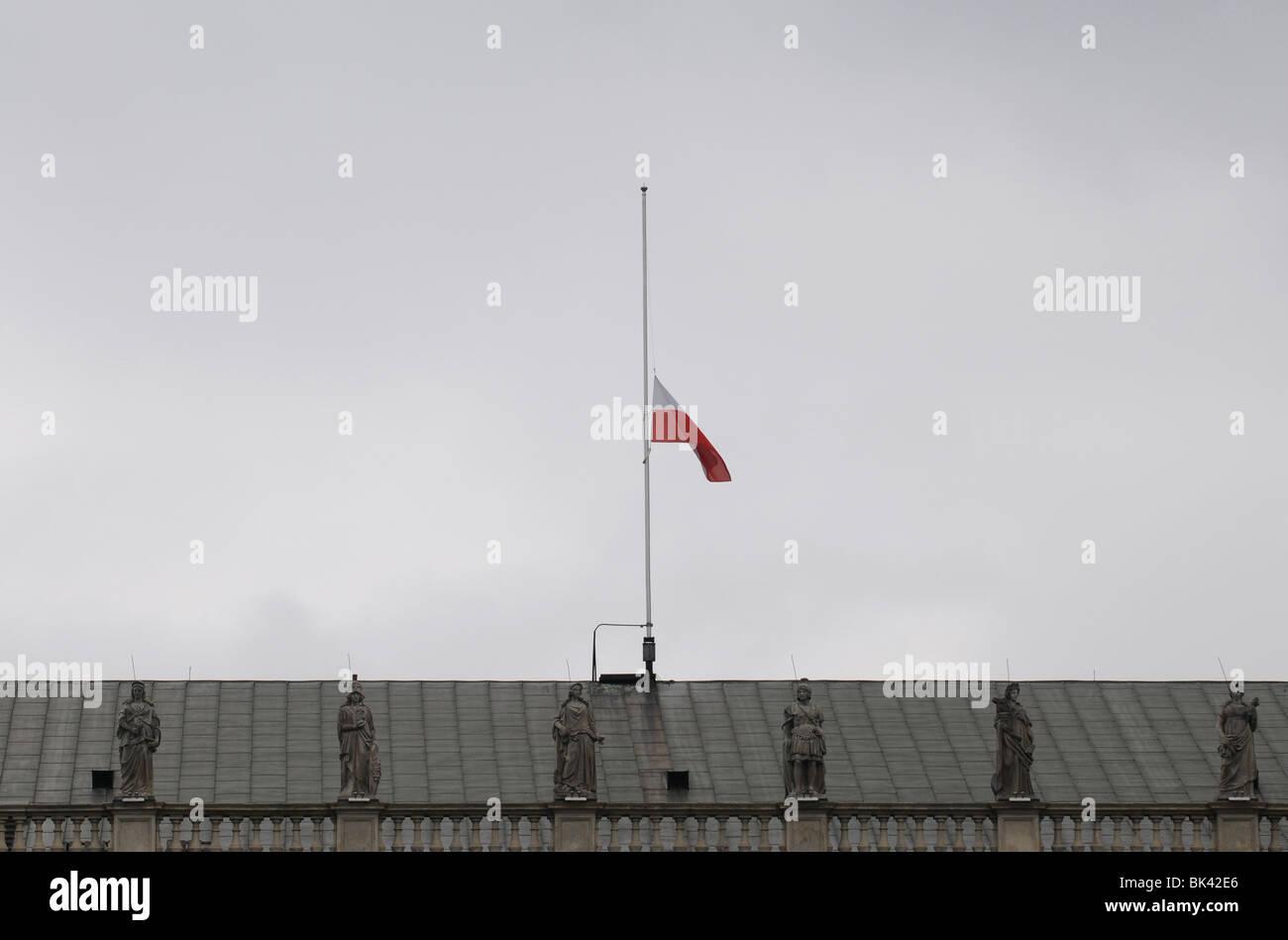 polish flag on half mast at presidential palace in warsaw poland
