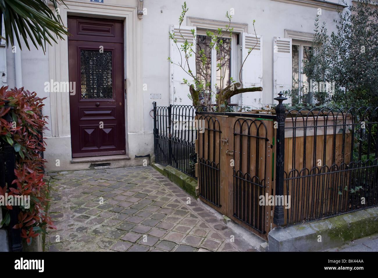 Apartment Building Front paris, france, private apartment building front entrance door