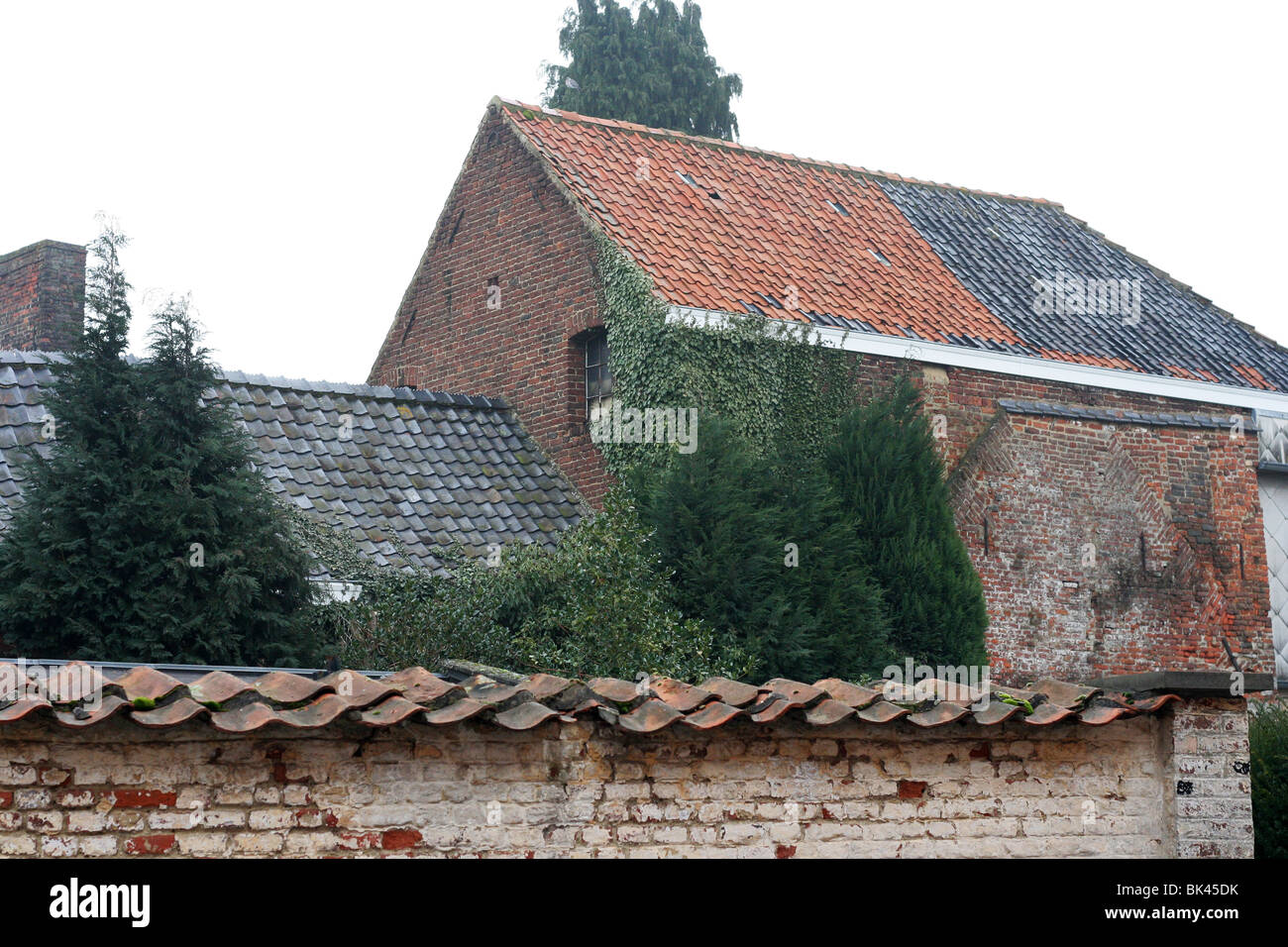 Old roofs in Chievres, Belgium