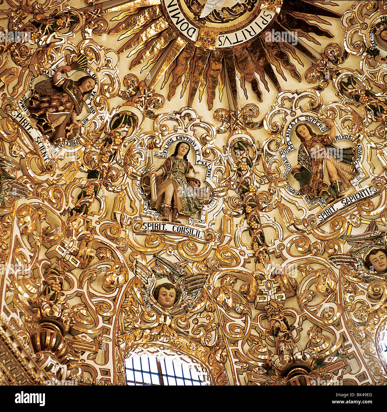 Gold Leaf Dome Chapel Of Rosary Church Santo Domingo In Puebla Mexico Built 1690 Example Mexican Baroque Architecture