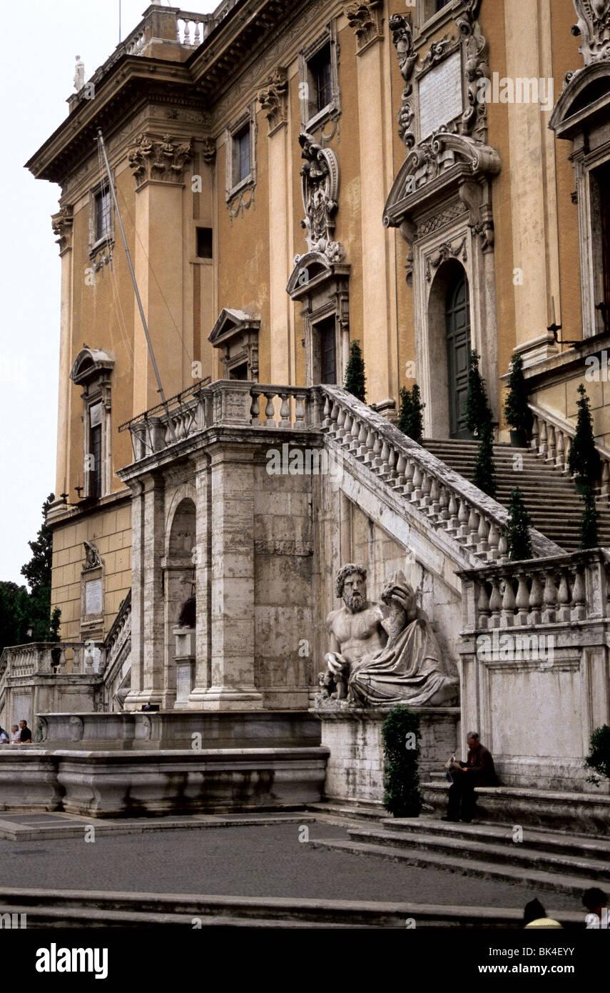 Legislative Building On Piazza Del Campidoglio And Palazzo Senatorio In  Rome, Italy   Stock Image