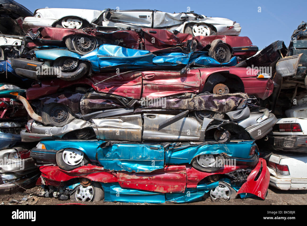 Detroit, Michigan - Junk cars crushed and ready for recycling at a ...