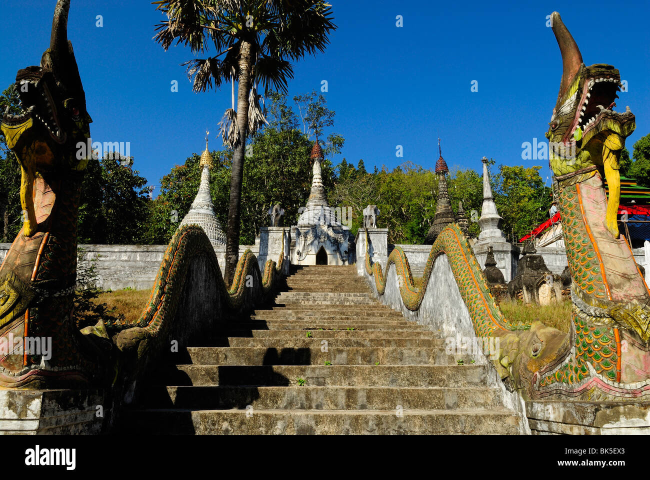 Stairs alley in Wat Phra That Doi Kong Mu temple, Thailand ...