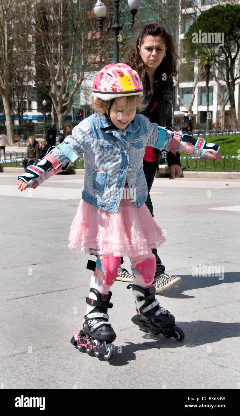Roller skating rink ontario - Plaze De Espana Madrid Spain Little Girl Child Inline Roller Skating Skate Skates Stock Image