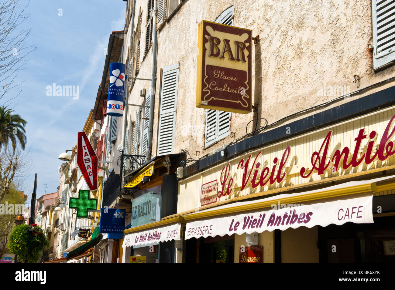 Antibes , typical shop or store arcade with Tabac , loto ...