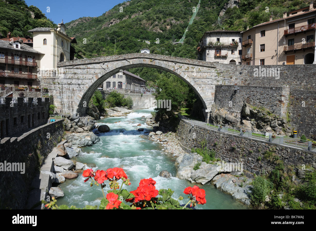 roman bridge over torrente lys pont st martin aosta valley italy stock photo royalty free image. Black Bedroom Furniture Sets. Home Design Ideas