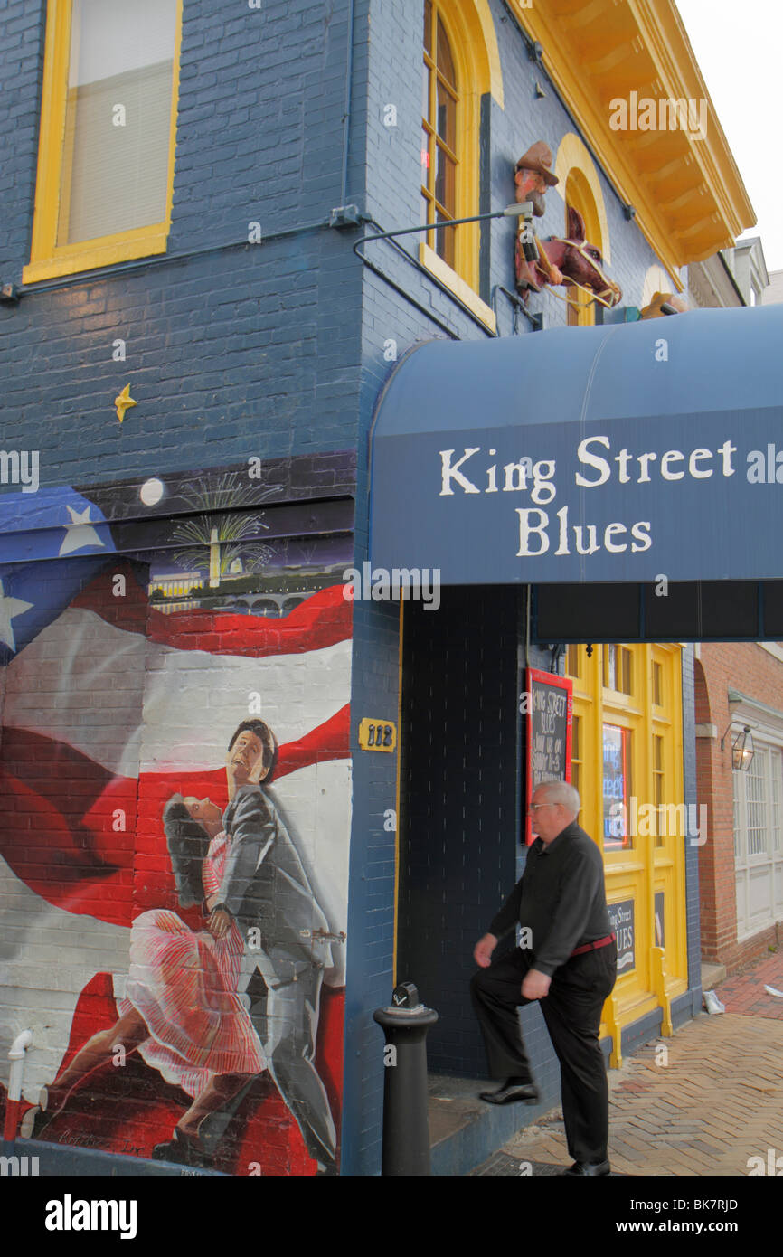 Virginia Alexandria Old Town Alexandria King Street Blues Bar Mural Stock Photo Royalty Free