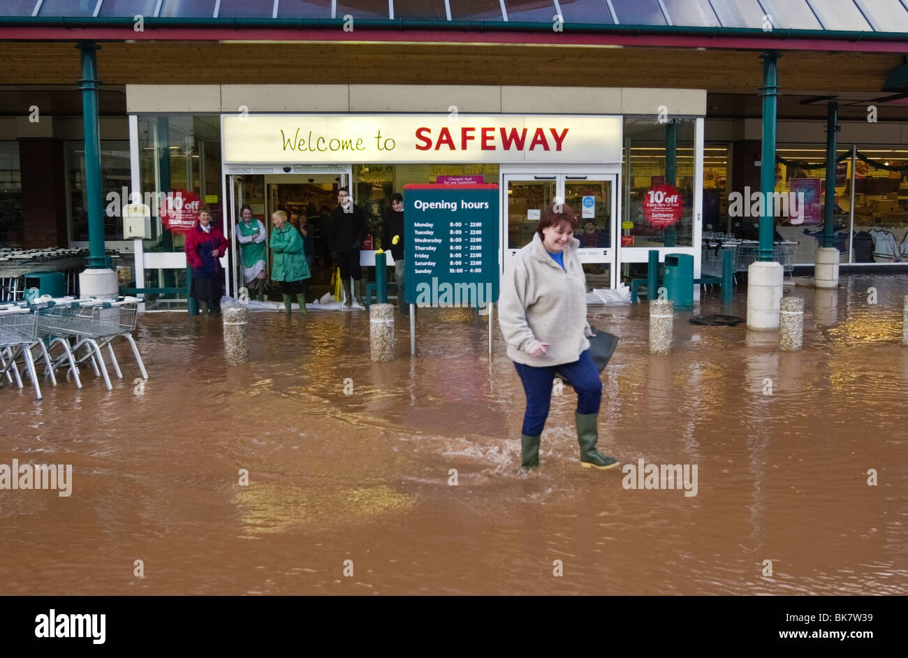 Safeway store sign stock photos safeway store sign stock images safeway store flooded after heavy rain at ross on wye herefordshire england uk stock image buycottarizona