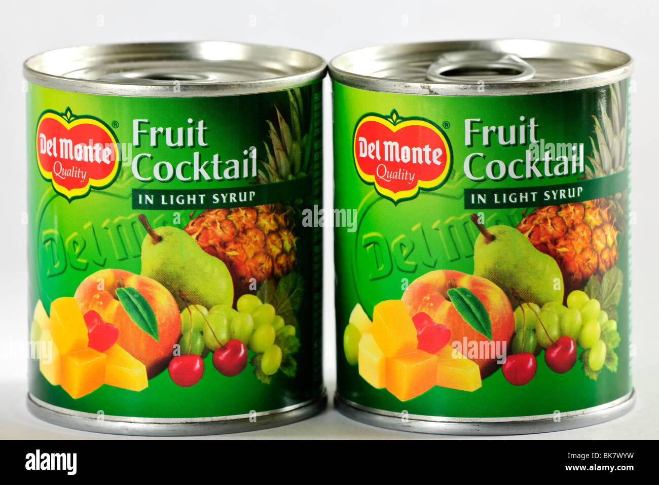 Two Tins of Del Monte fruit cocktail in light syrup Stock Photo, Royalty Free Image: 29062877