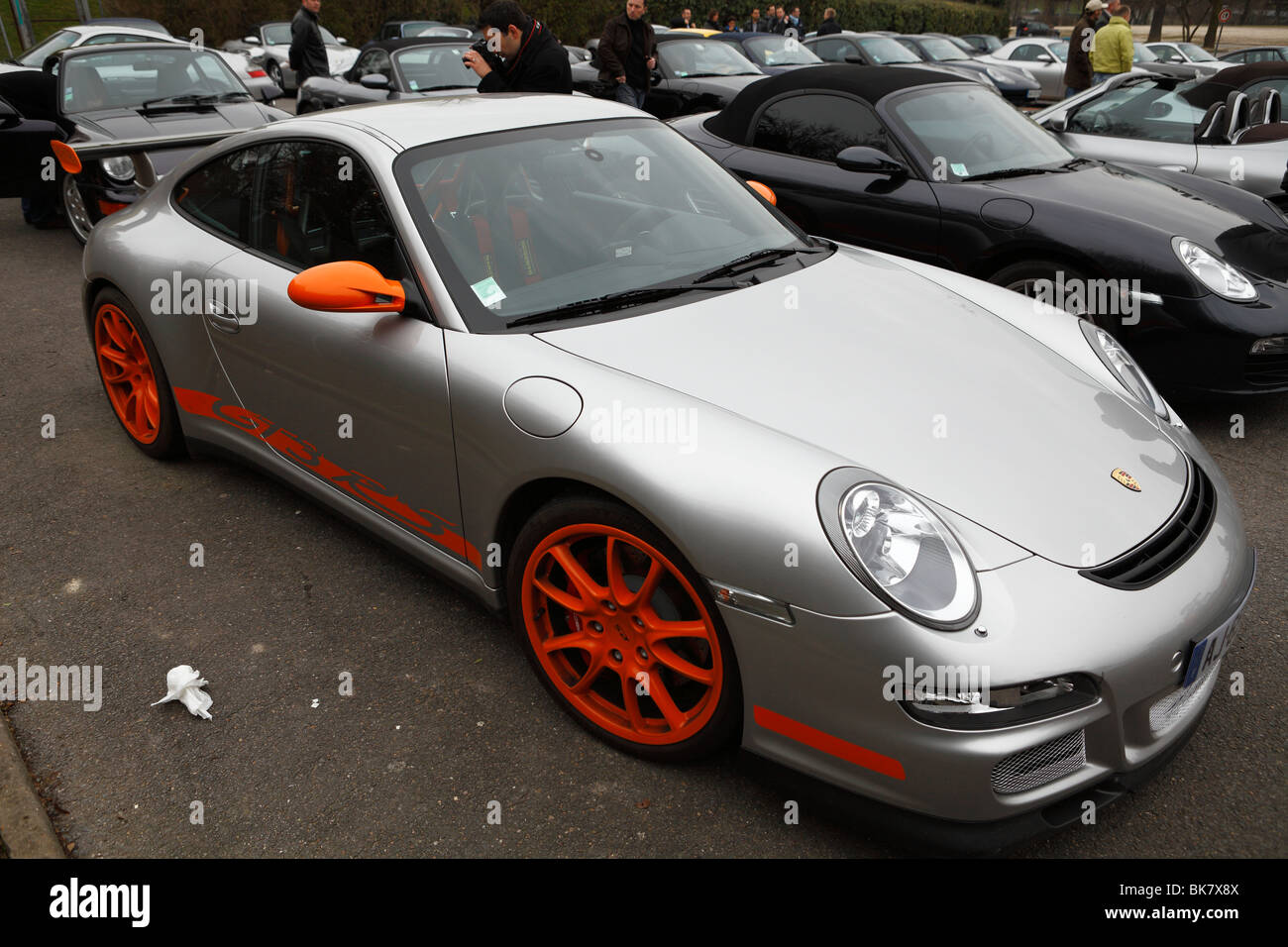 porsche 997 gt3 rs gray and orange stock photo royalty free image 29063130 alamy. Black Bedroom Furniture Sets. Home Design Ideas