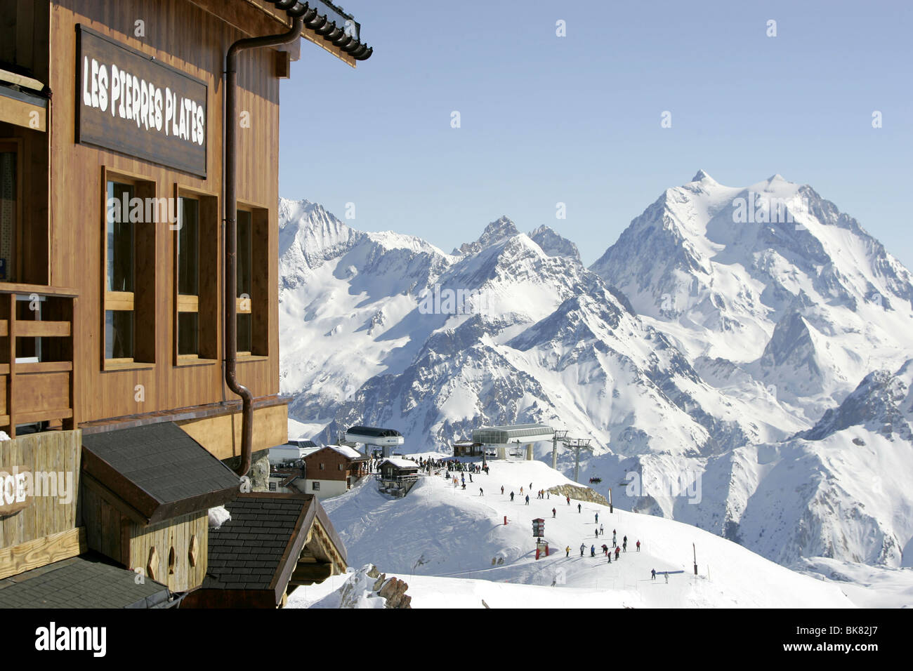 MERIBEL AND Courchevel SKI AREA OF THE THREE VALLEYS IN FRANCE Stock