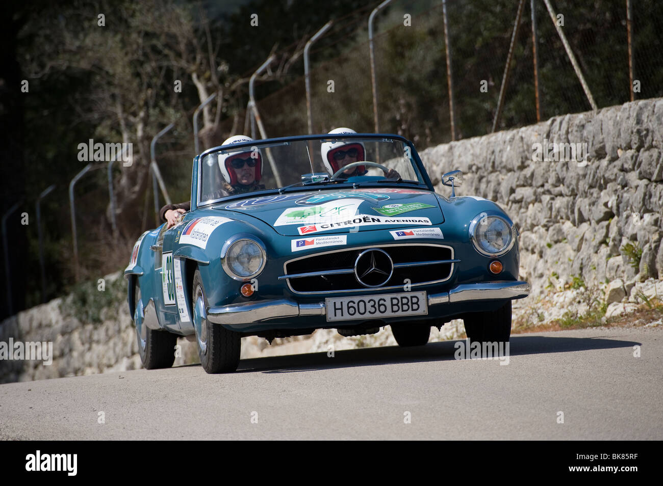 1955 Mercedes 190SL classic sports car taking part in a rally in ...