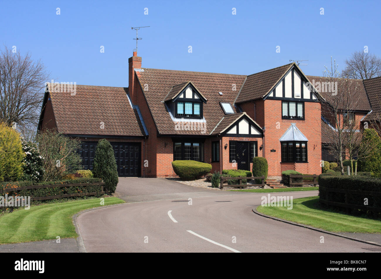 A modern detached house in the u k stock photo royalty for Modern house uk