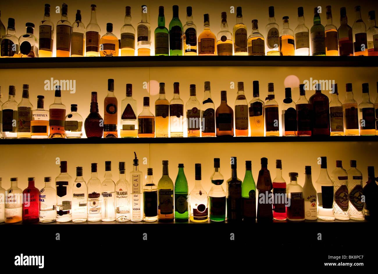 Bottles Of Spirit On Display At Spanish Bar Stock Photo