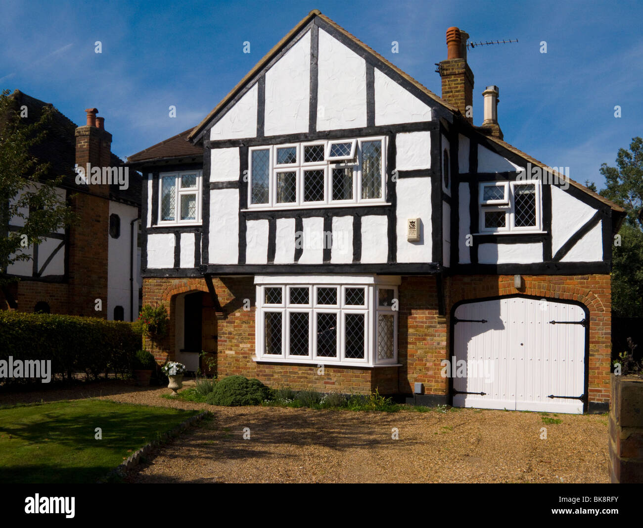 Mock Tudor black and white 1930's house with garage and a ...