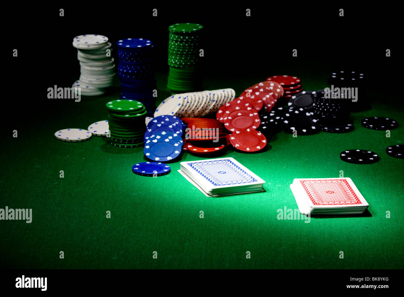 Poker Equipment On Green Table, Light Painting View