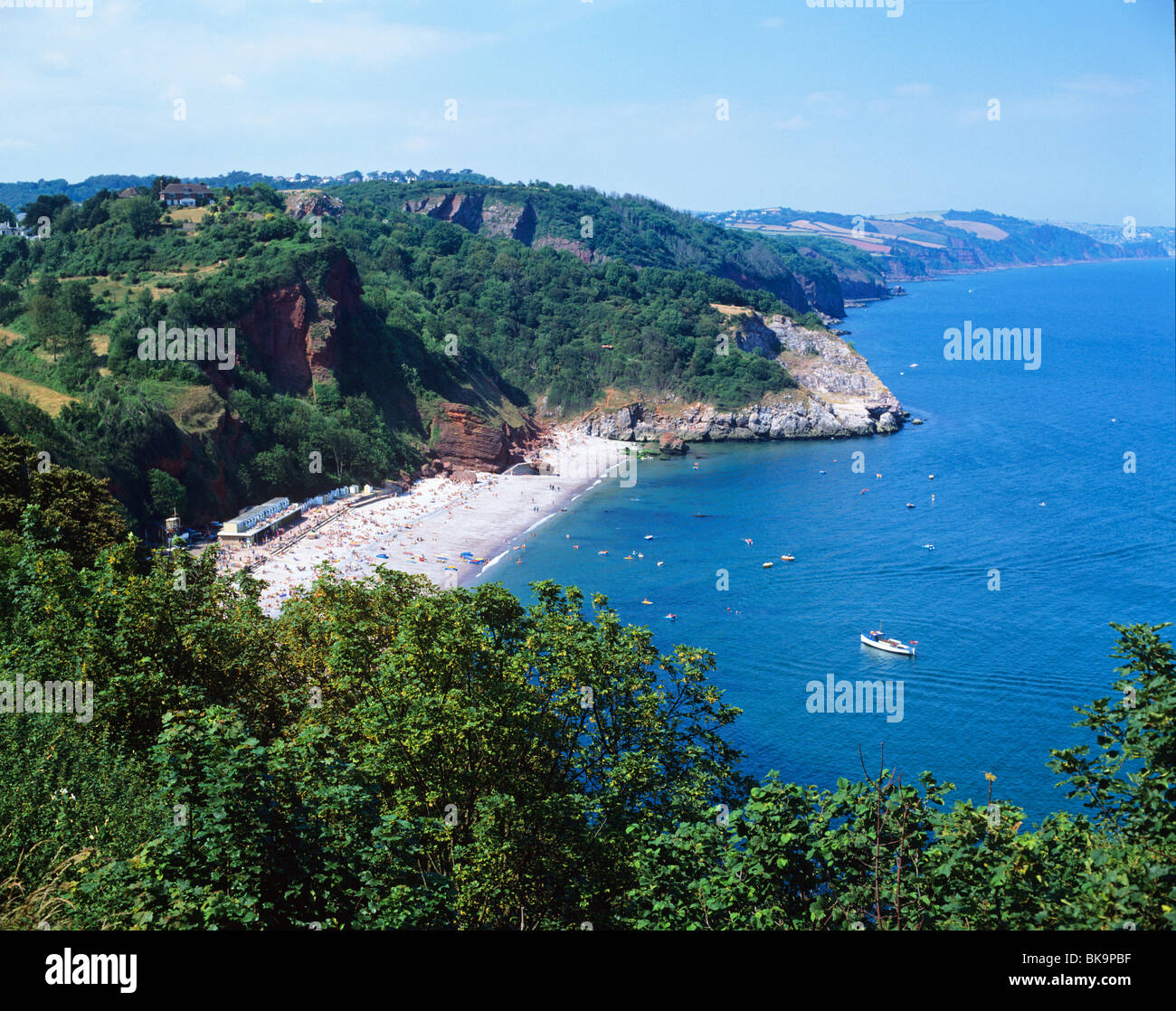 View over Oddicombe Beach on Babbacombe Bay near the ...