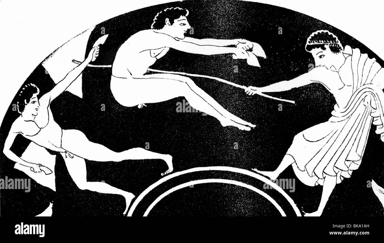sports, Ancient World, Greece, long jumpers, Attic bowl, circa 500 ...