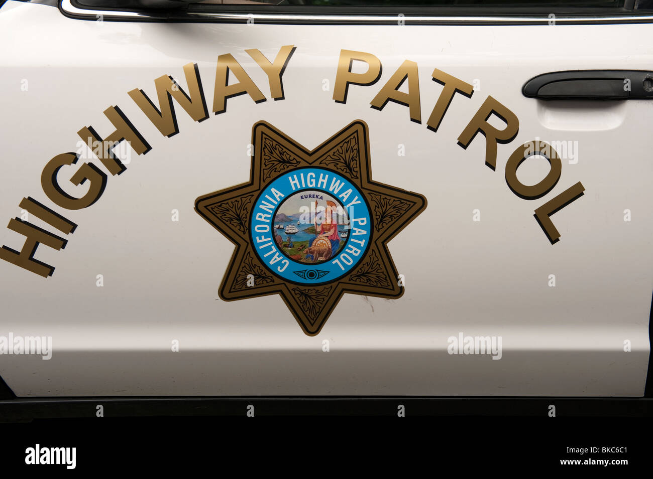 california highway patrol police car and logo stock photo. Black Bedroom Furniture Sets. Home Design Ideas