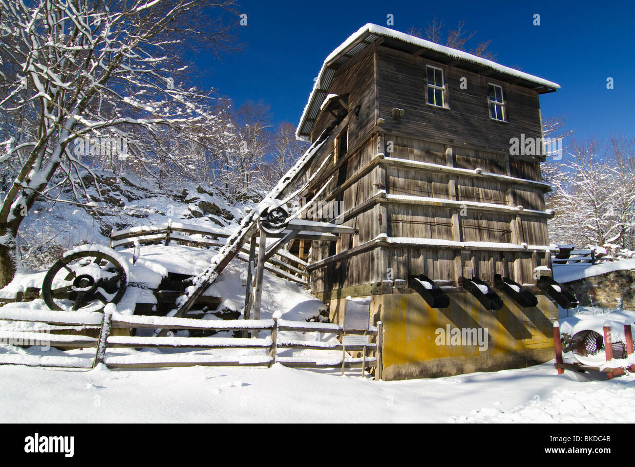 Snow Covered Historic Quarry Building, Clinton Red Mill Village ...