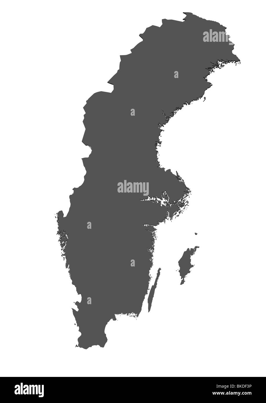 D Rendered Blank Map Of Sweden Without Shadow Stock Photo - Sweden blank map