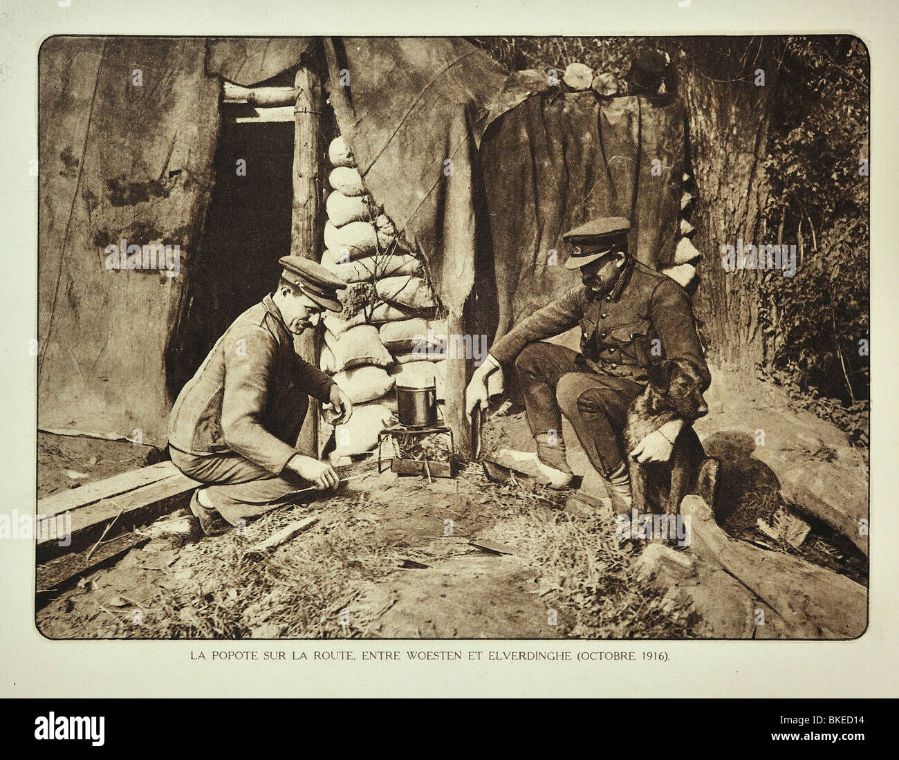 Ww1 Soldiers Cooking Food In Field Kitchen Outside Shelter