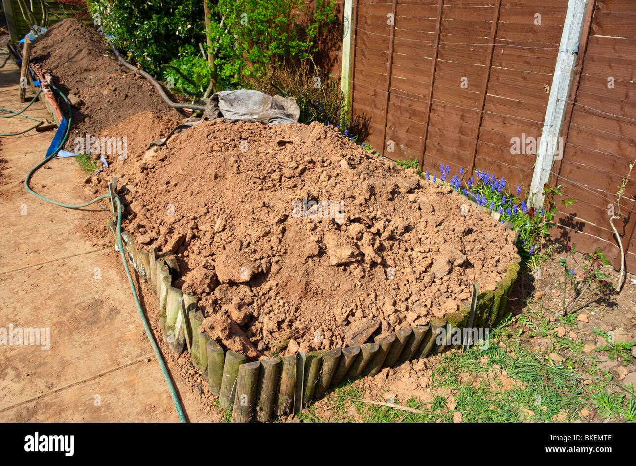 Soil In Garden Held In Place By Wooden Barrier Awaiting Removal